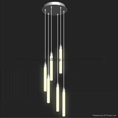 Ceiling Acrylic Crystal RGB Column LED Light with 6 tubes