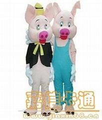 卡通粉红情侣猪服装