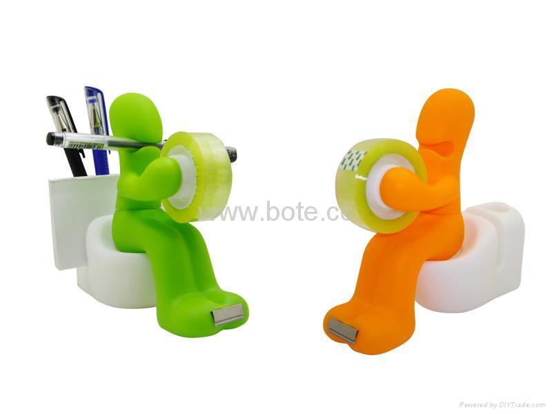 Adhesive Tape Dispenser Cutter Pen/Memo/Paper Clips Holder Stationery Set  1