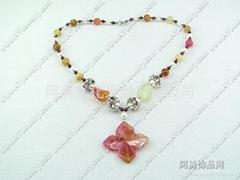 珍珠三彩玉项链