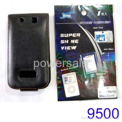 Blackberry Leather Case+Screen Protector for Storm 9500  1