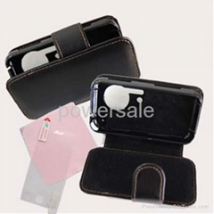 Black Leather Skin case screen protector For LG KC910