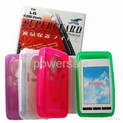 New Silicone skin Case Screen protector For LG KU990