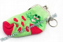 Sock Coin Purse Bag With Key Ring Froggy