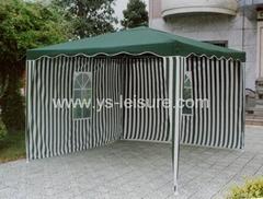 Metal Garden Gazebo,3*3m,Polyester Fabirc , w/Wave Eave,with 2 Sidewalls