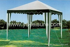 Metal Garden Gazebo,3*3m,PE Roof with Polyester Eave, w/Ropes and Ground Pins