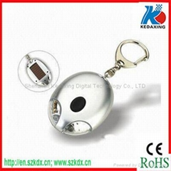 Solar keychain with LED flashlight