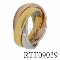 三环镶锗纯钛指环