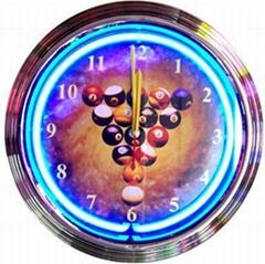 15 inch pool balls neon clock