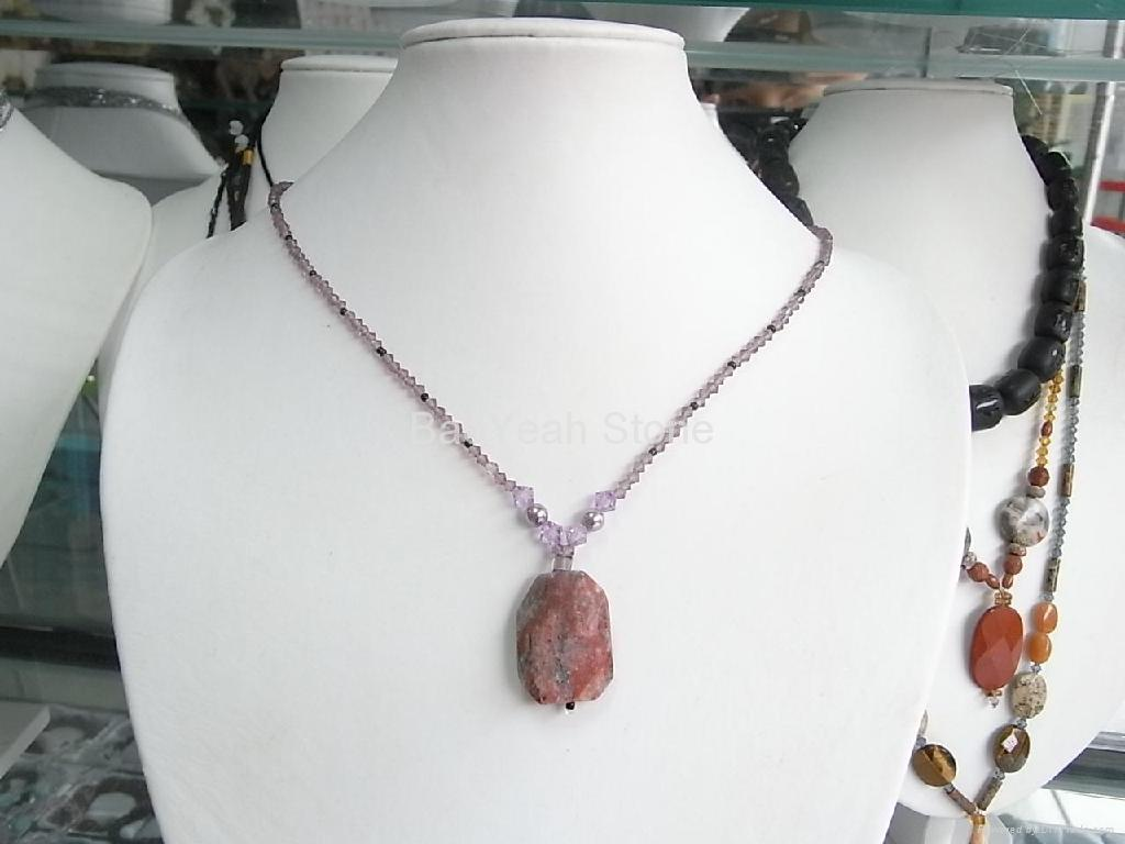other necklace blue i stone iridescent natural tradesy