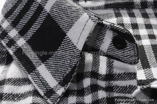 全棉色织法兰绒男士长袖休闲衬衫 3