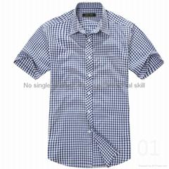 100% cotton yarn dyed flannel men's short sleeve soft collar fashion shirts