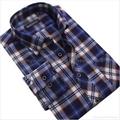 cvc 80/20 print flannel men's long sleeve soft collar business shirt 1