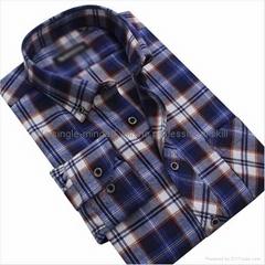 cvc 80/20 print flannel men's long sleeve soft collar business shirt