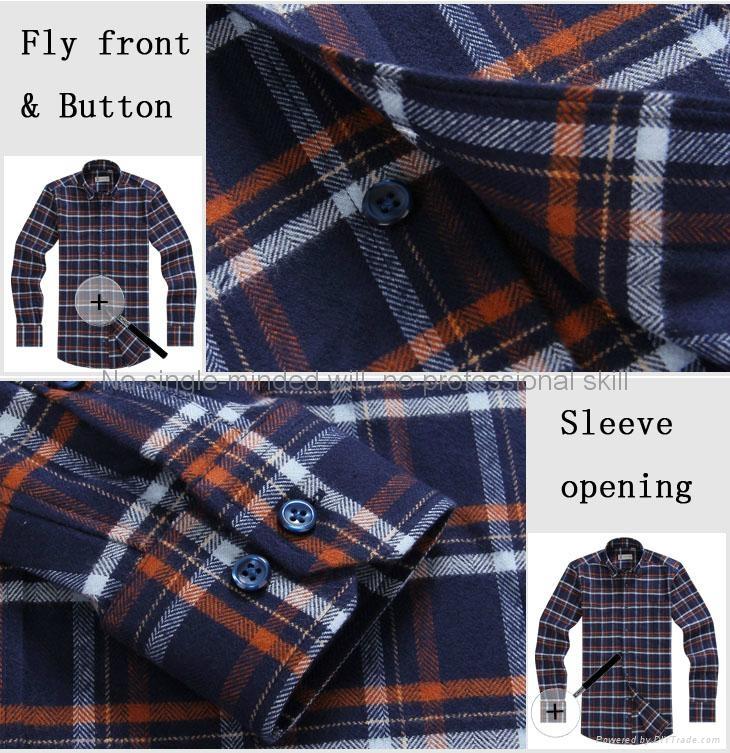 cvc 80/20 print flannel men's long sleeve soft collar business shirt 3
