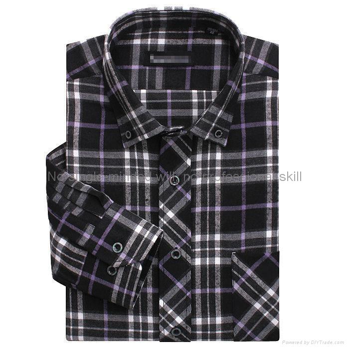 cvc 80/20 print flannel men's long sleeve soft collar business shirt 4