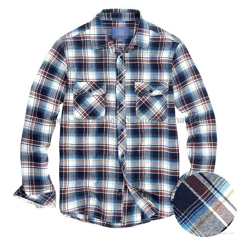 cvc 80/20 print flannel men's long sleeve soft collar business shirt 5