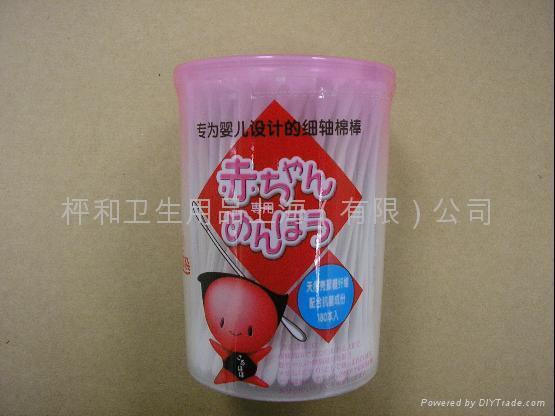供應嬰儿細軸棉棒180本圓罐 1