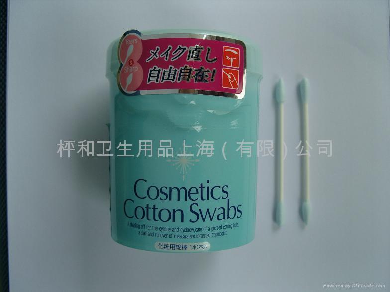 供應藍綿化妝綿棒140本罐 1