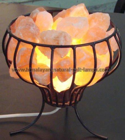 Wrought Iron Salt Lamps with salt Chunks 4