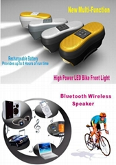 wireless Bluetooth Bike Speaker and LED Bike light