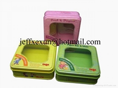 square tin box with clear window