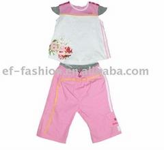 Baby suits,Baby jersey vest plus poplin capri