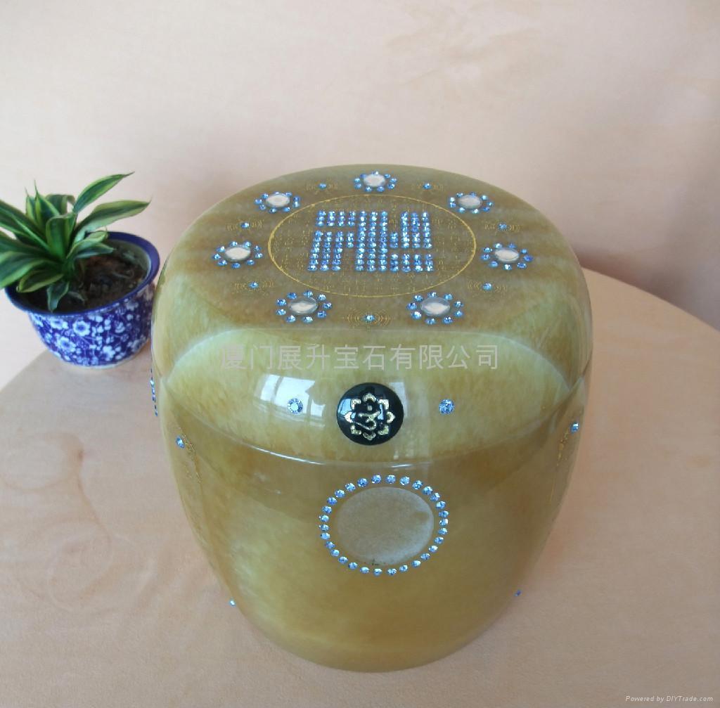 七寶米黃玉經文骨灰罐 3
