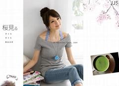 米娜09韩版热销新款新品纯色一字领露肩短袖T恤