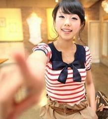 淑女MM最爱Qnigirls女孩条纹小V领蝴蝶结短袖T恤
