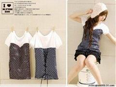 韩版09夏装新款可爱冰点短袖背后系绳圆领T恤