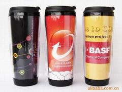 供应 咖啡 广告杯 双层隔热 可自由更换广告纸