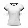 纯棉白色短袖T恤(黑边)