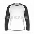 纯棉长袖T恤(白身黑袖)
