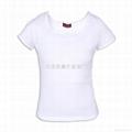 白色纯棉女式U领短袖T恤 1