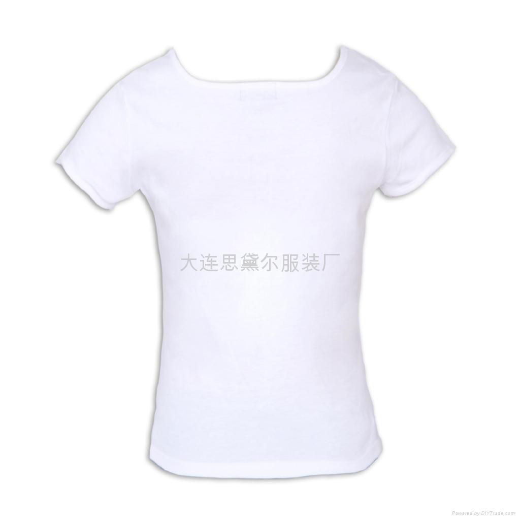 白色纯棉女式U领短袖T恤 2