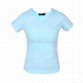 蓝色纯棉女式鸡心领T恤