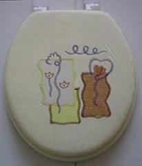 刺绣软座马桶盖,绣花,PVC,盖板,海绵