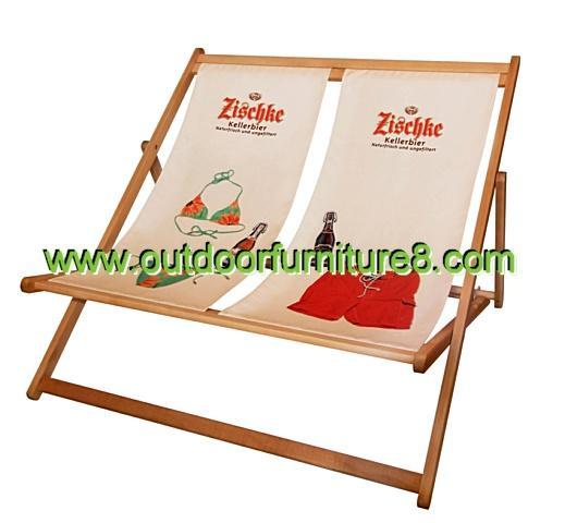 Folding Double Beach Chair Solid Wood