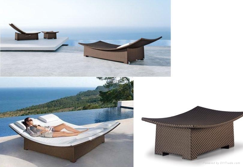 Rattan Daybed Suppliers : Foshan factory rattan wicker daybed chaise lounge fco