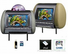 car headrest dvd player with IPOD /32bit wireless game/USB/SD/IR/FM/DVB-T