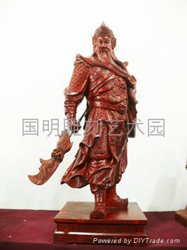 红檀木整木雕——关公