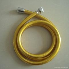 Golden shining silver shower hose
