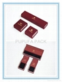 Gift boxes with burgundy velvet and paper
