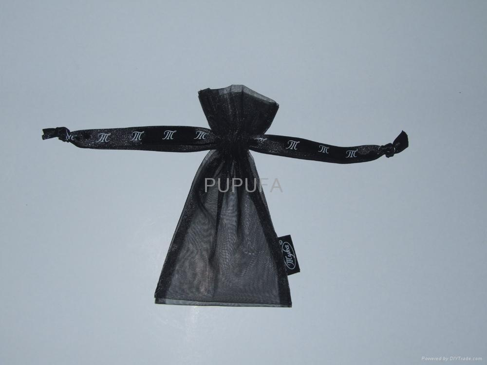 Personalized black organza gift pouches with side tag