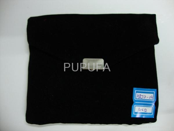 velvet promo bags with metal decoration 3