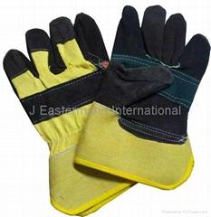 Multi Color Split Leather Working Gloves