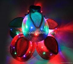 LED light up sequins fedora hat