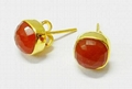 Red Onyx 8*8mm Cushion gold plated