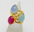 Three Gemstone Pear Shape Silver Gold